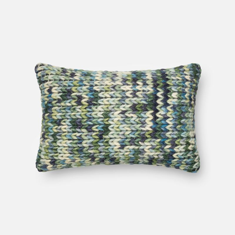 Loloi Rugs P0223 Green and Blue Green and Blue Pillow with Polyester