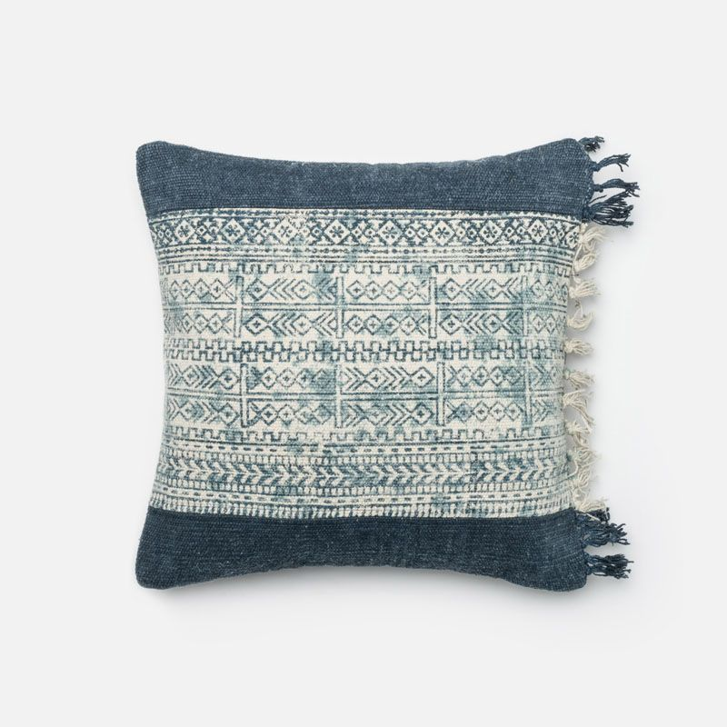 Loloi Rugs P0280 Blue and Ivory Blue and Ivory Pillow with Cotton