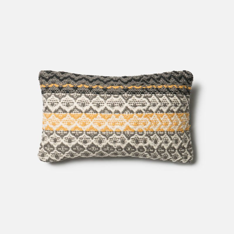 Loloi Rugs P0293 Grey and Gold Grey and Gold Pillow with Wool and