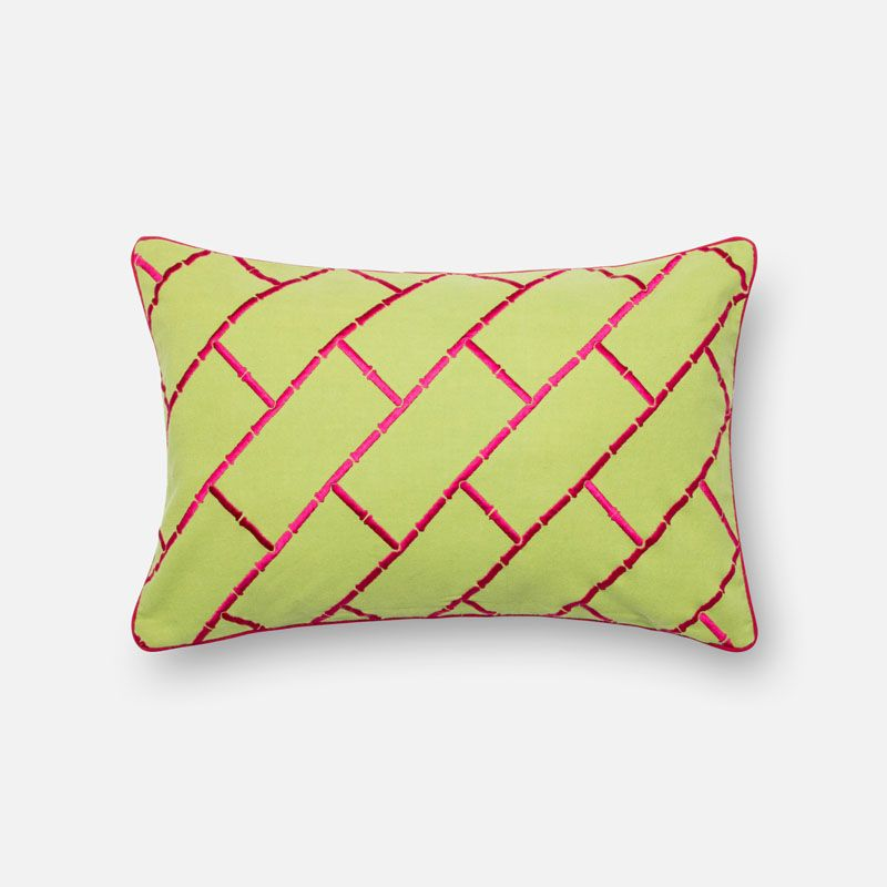 Loloi Rugs P0312 Lime and Pink Lime and Pink Pillow with Cotton Cover