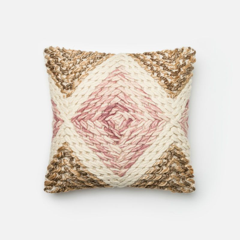 Loloi Rugs P0331 Lilac and Beige Lilac and Beige Pillow with Jute