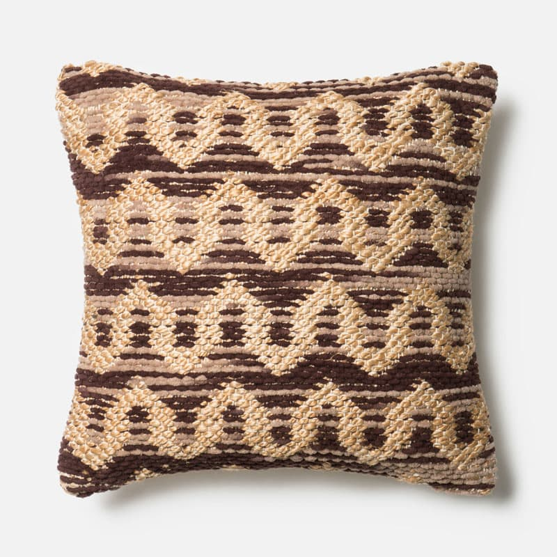 Loloi Rugs P0338 Brown and Beige Brown and Beige Pillow with Jute