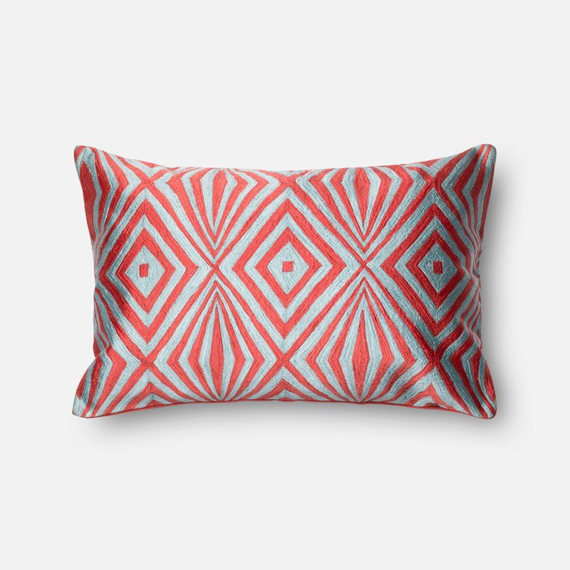 Loloi Rugs P0011 Coral and Teal Coral and Teal Pillow with Cotton