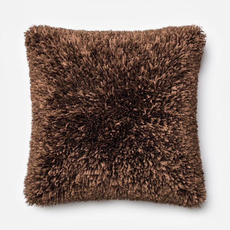 Loloi Rugs P0045 Brown Brown Pillow with Polyester Cover and Choice of