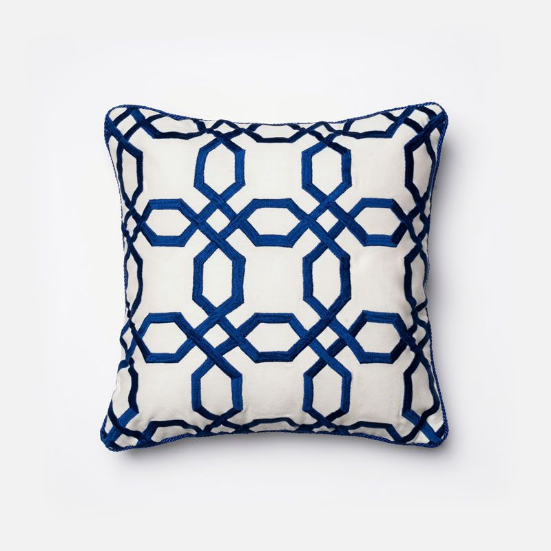 Loloi Rugs P0130 Blue and White Blue and White Pillow with Cotton