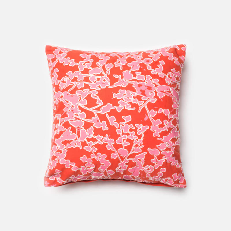 Loloi Rugs P0154 Pink and Coral Pink and Coral Pillow with Cotton
