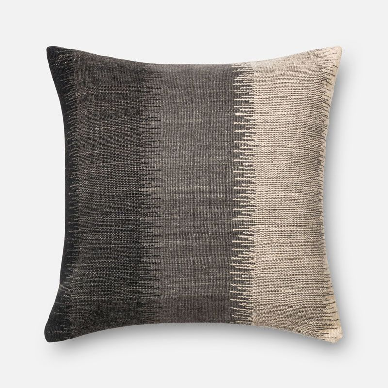 Loloi Rugs P0165 Grey and Ivory Grey and Ivory Pillow with Wool and