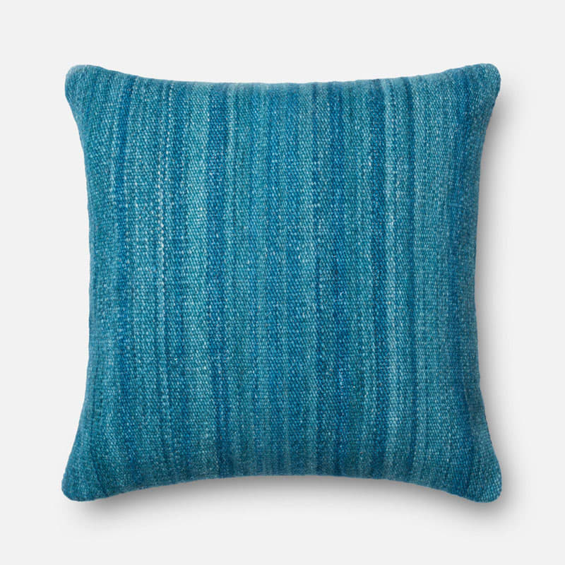 Loloi Rugs P0167 Blue Blue Pillow with Wool and Cotton Cover and