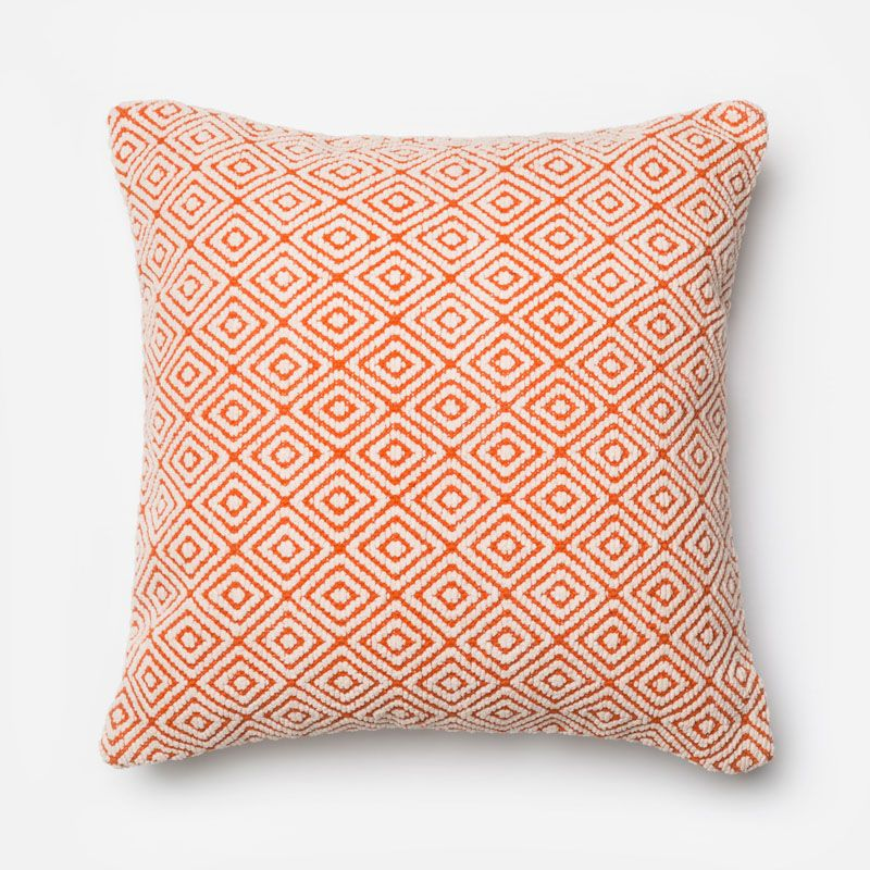 Loloi Rugs P0182 Orange and Ivory Orange and Ivory Pillow with Wool