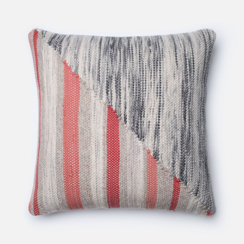 Loloi Rugs P0187 Grey and Coral Grey and Coral Pillow with Wool and