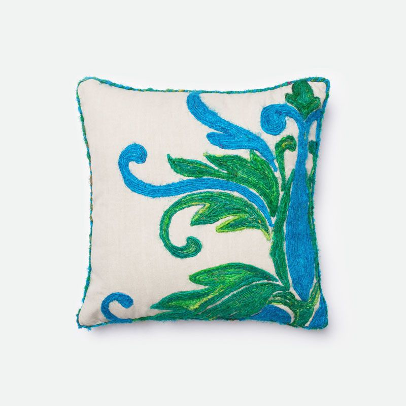 Loloi Rugs P0232 Green and Blue Green and Blue Pillow with Cotton and