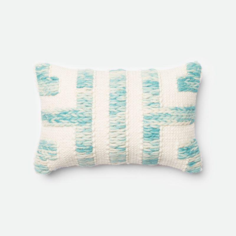 Loloi Rugs P0250 Blue and Ivory Blue and Ivory Pillow with Wool and