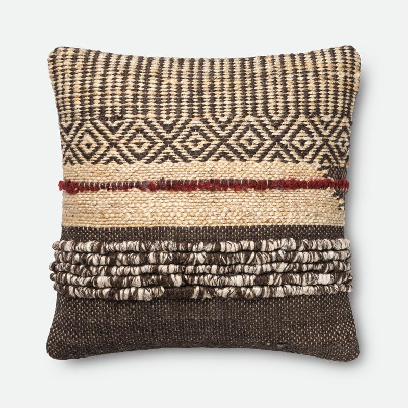 Loloi Rugs P0286 Brown and Red Brown and Red Pillow with Jute and Wool