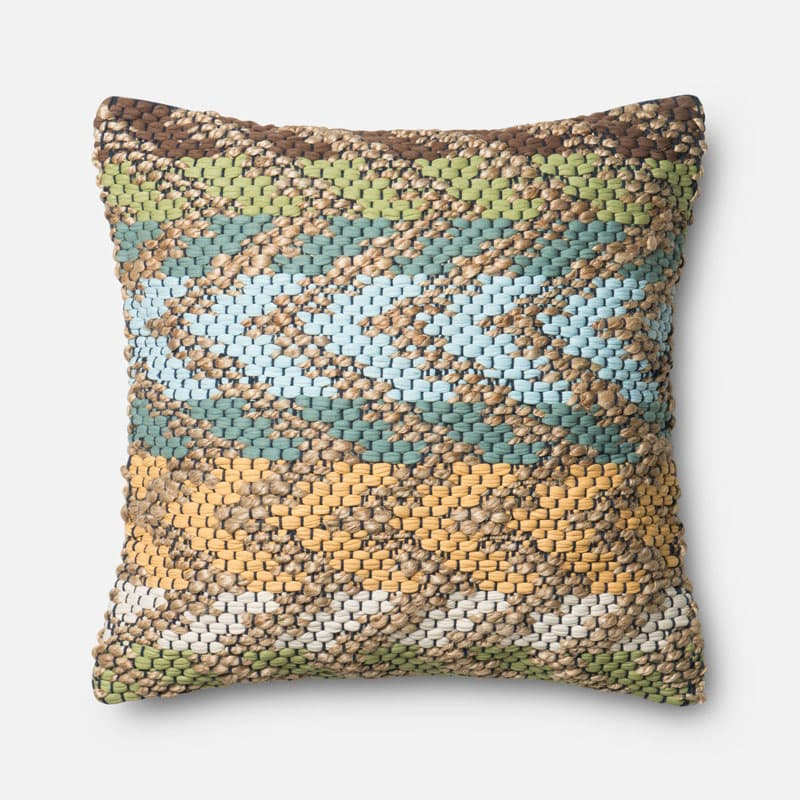 Loloi Rugs P0330 Green and Multi Green and Multi-Colored Pillow with