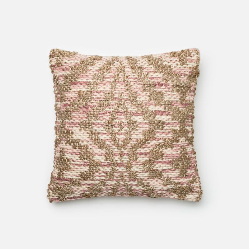 Loloi Rugs P0332 Lilac and Beige Lilac and Beige Pillow with Jute