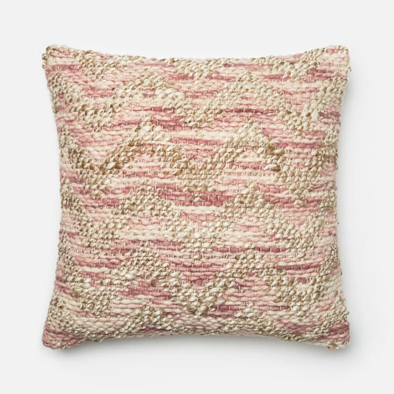 Loloi Rugs P0337 Lilac and Beige Lilac and Beige Pillow with Jute