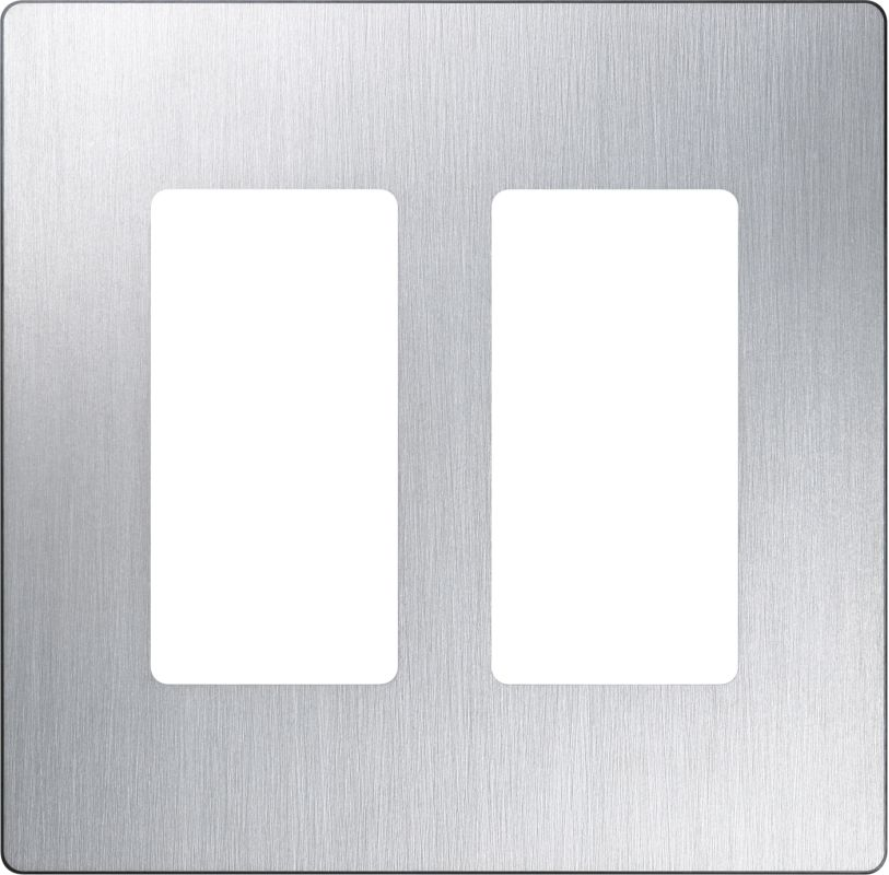 Lutron CW-2 Claro Two Gang Designer Wall Plate Stainless Steel Wall