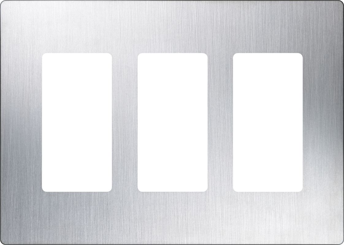 Lutron CW-3 Claro Three Gang Designer Wall Plate Stainless Steel Wall