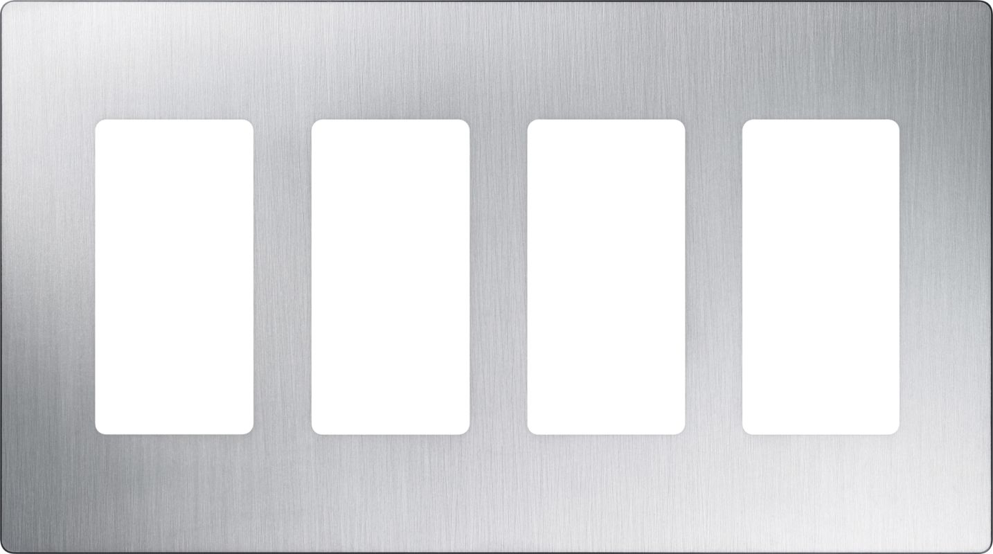 Lutron CW-4 Claro Four Gang Designer Wall Plate Stainless Steel Wall