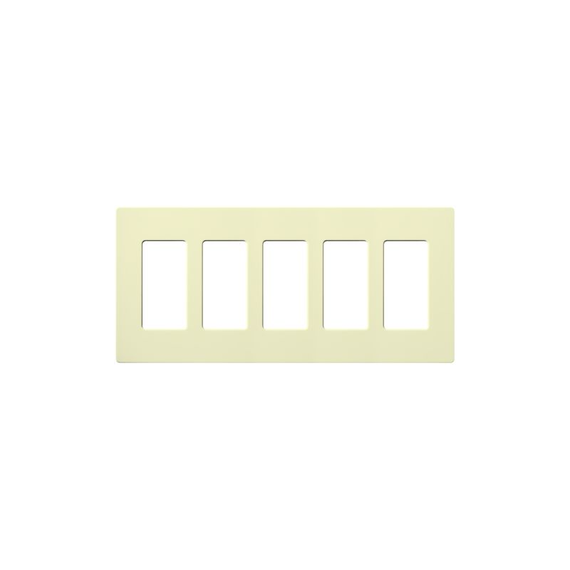 Lutron CW-5 Claro Five Gang Designer Wall Plate Almond Wall Controls
