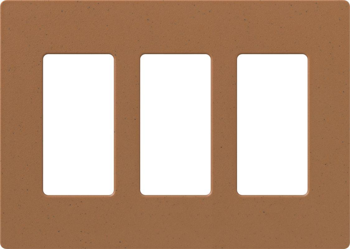 Lutron CW-3 Claro Three Gang Designer Wall Plate Terracotta Wall