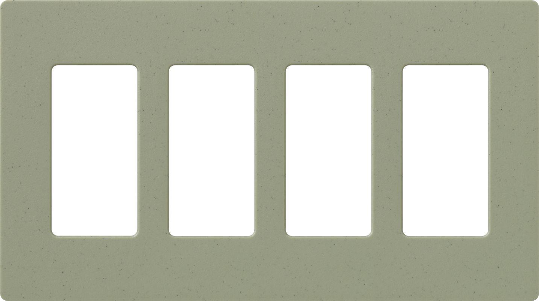 Lutron CW-4 Claro Four Gang Designer Wall Plate Greenbriar Wall
