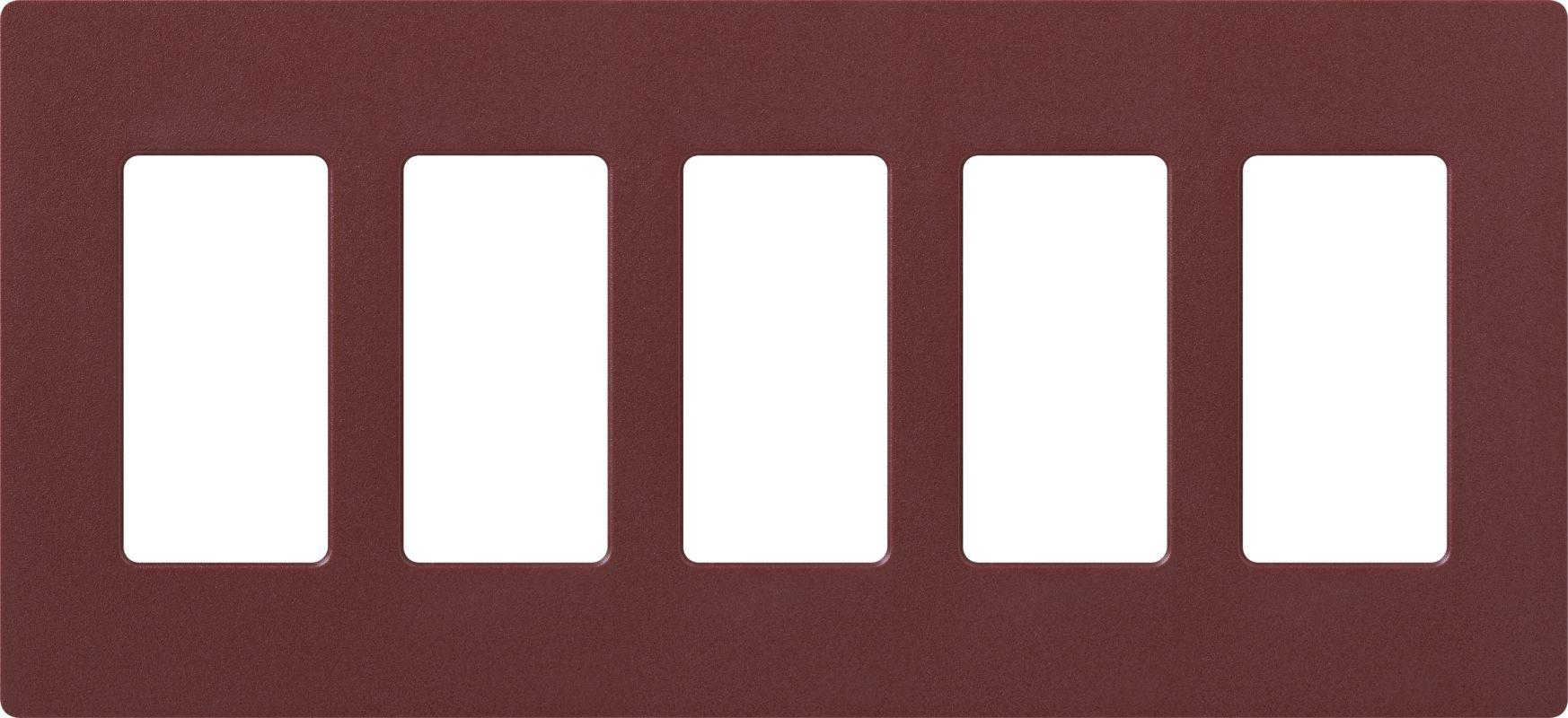 Lutron CW-5 Claro Five Gang Designer Wall Plate Merlot Wall Controls