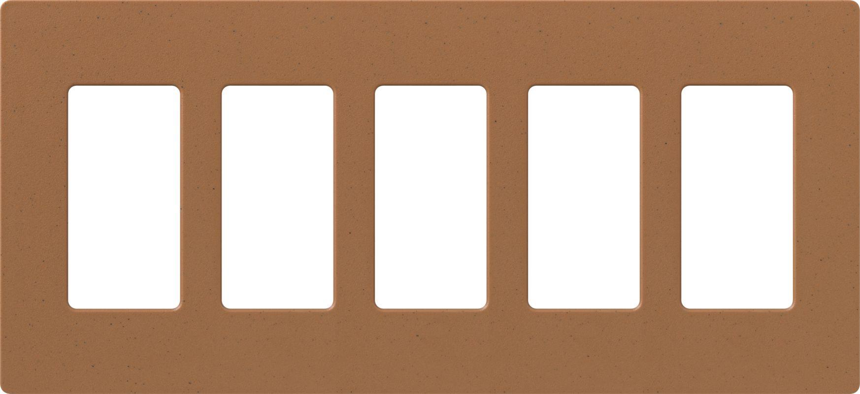 Lutron CW-5 Claro Five Gang Designer Wall Plate Terracotta Wall