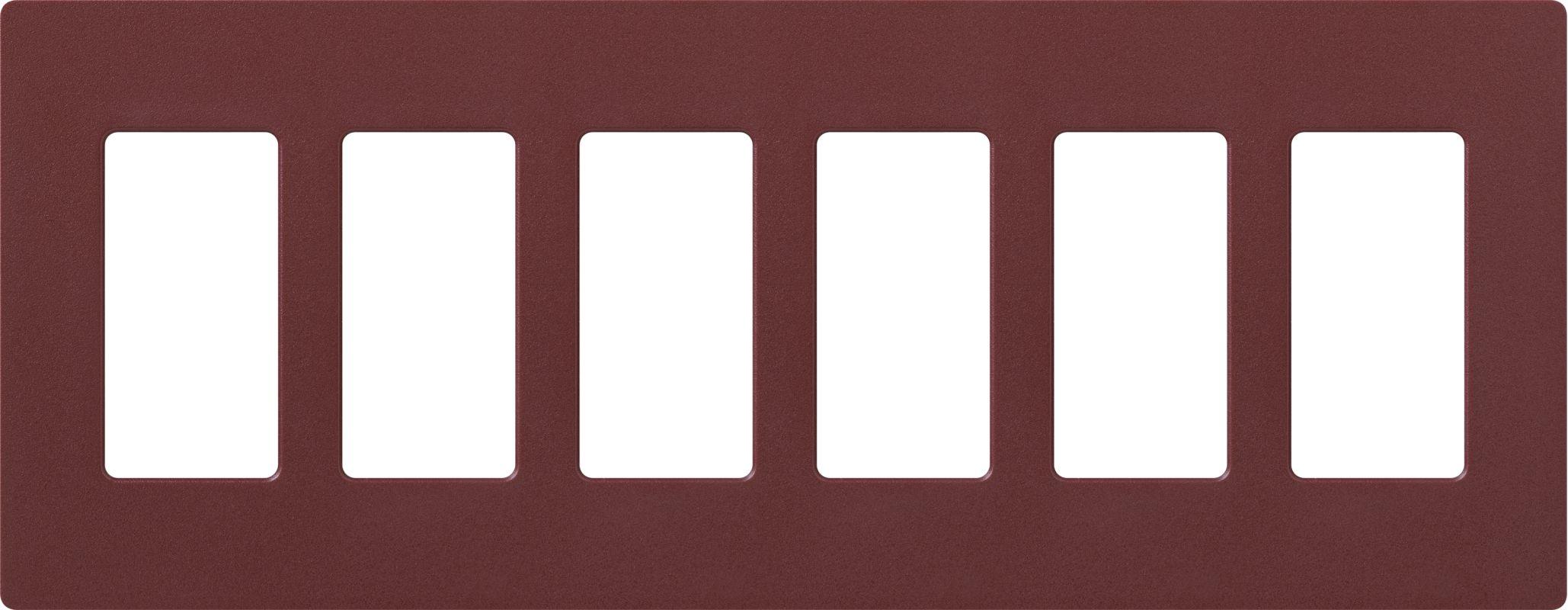 Lutron CW-6 Claro Six Gang Designer Wall Plate Merlot Wall Controls