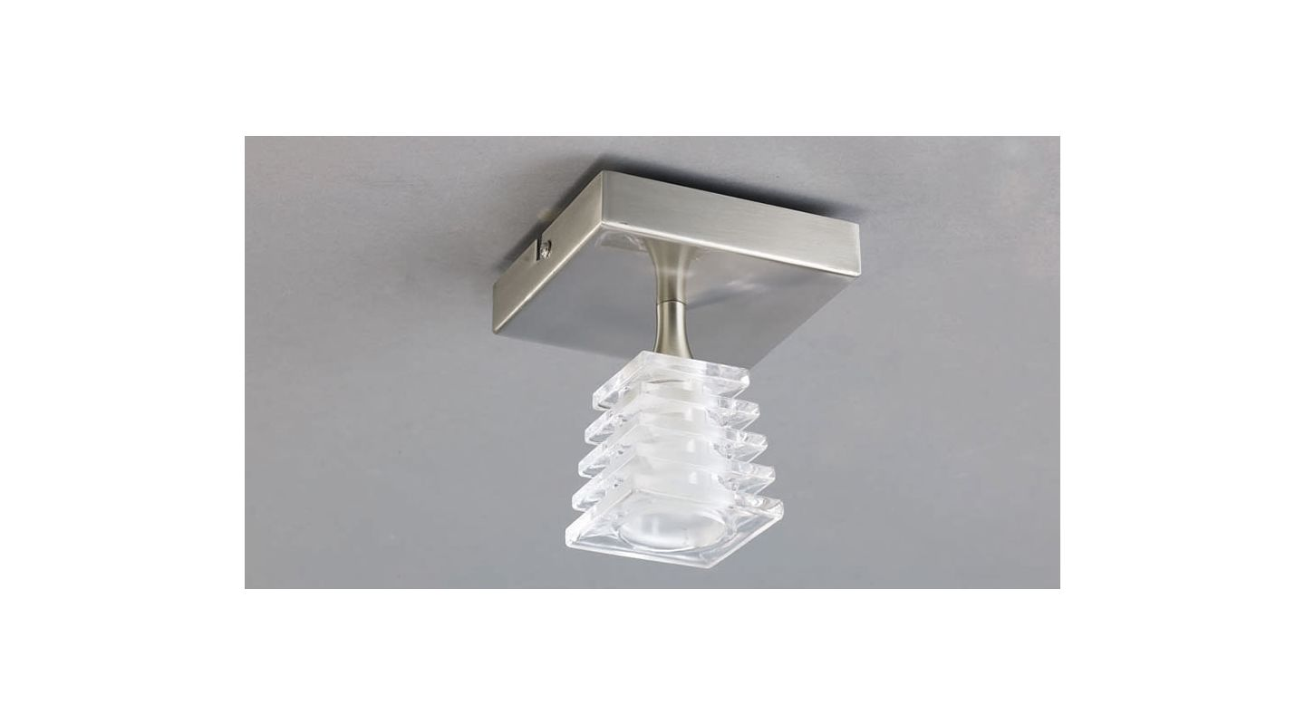 Mantra Lighting 0020SN Keops 1 Light Flush Mount Ceiling Fixture Satin