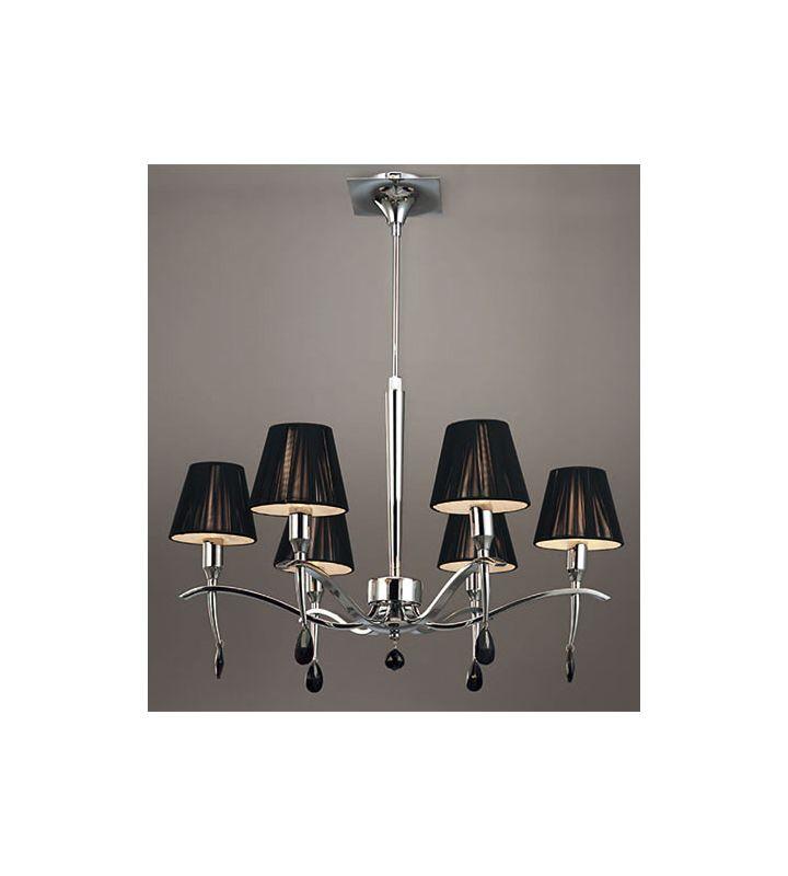 Mantra Lighting 0342 Viena 6 Light 1 Tier Crystal Chandelier Polished