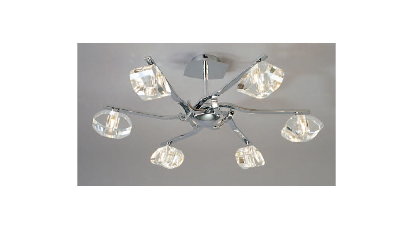 Mantra Lighting 0413 Alfa 5 Light Semi-Flush Ceiling Fixture Polished
