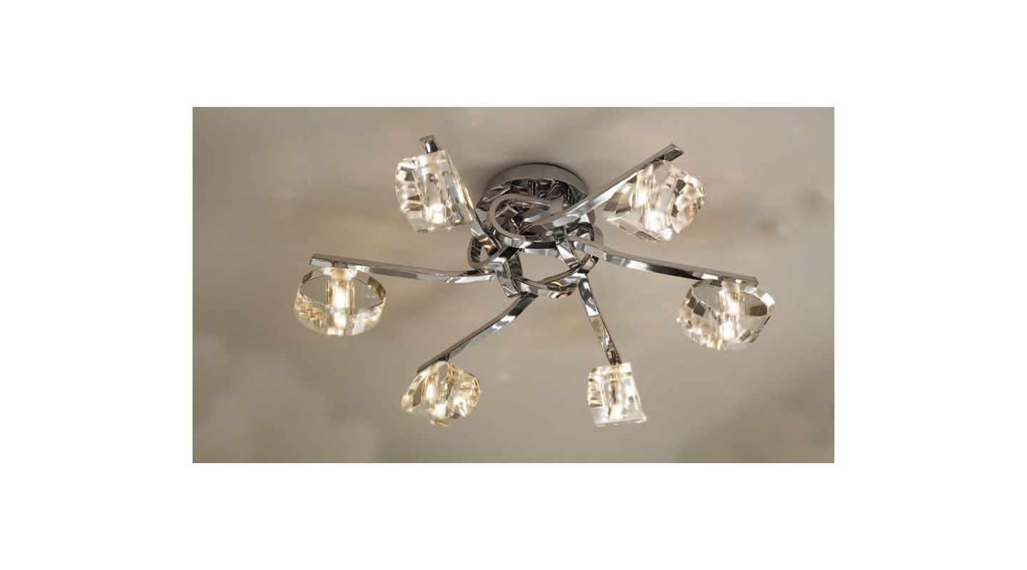 Mantra Lighting 0416 Alfa 6 Light Flush Mount Ceiling Fixture Polished