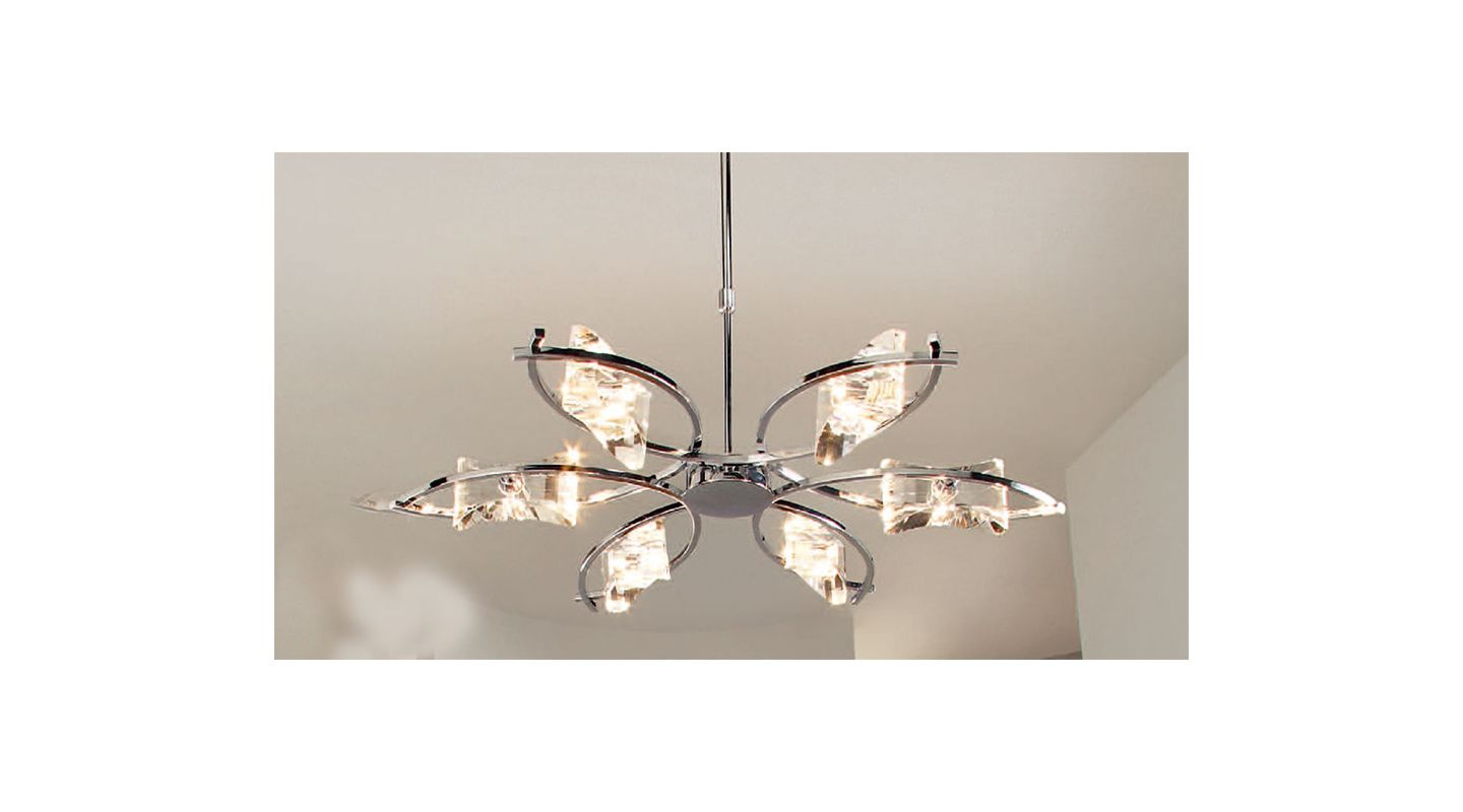 Mantra Lighting 0884 Krom 6 Light 1 Tier Chandelier Polished Chrome