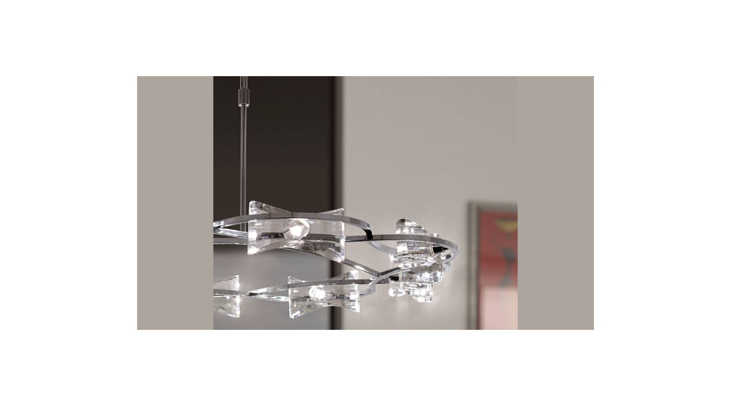 Mantra Lighting 0888 Krom 8 Light 1 Tier Chandelier Polished Chrome
