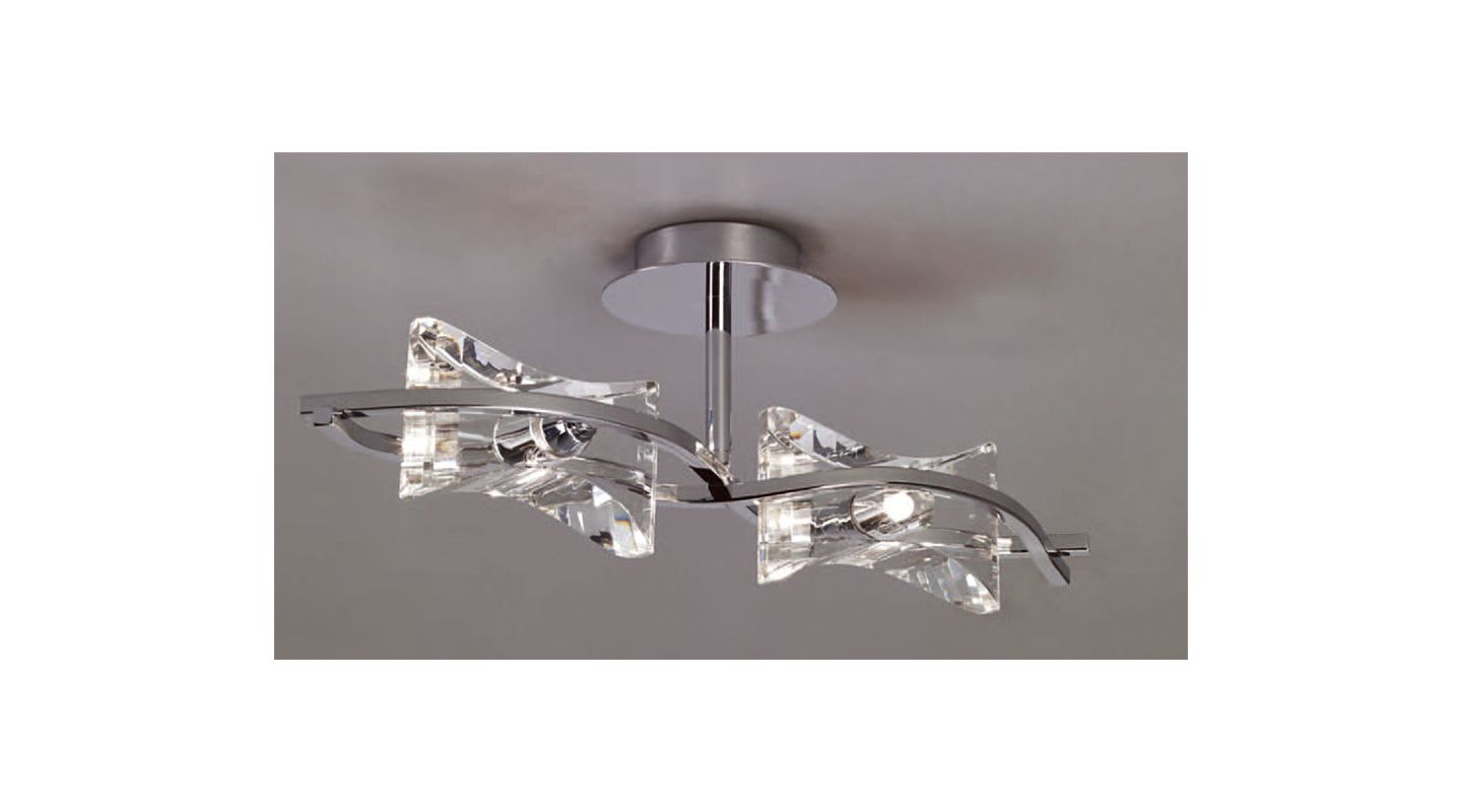 Mantra Lighting 0889 Krom 2 Light Semi-Flush Ceiling Fixture Polished