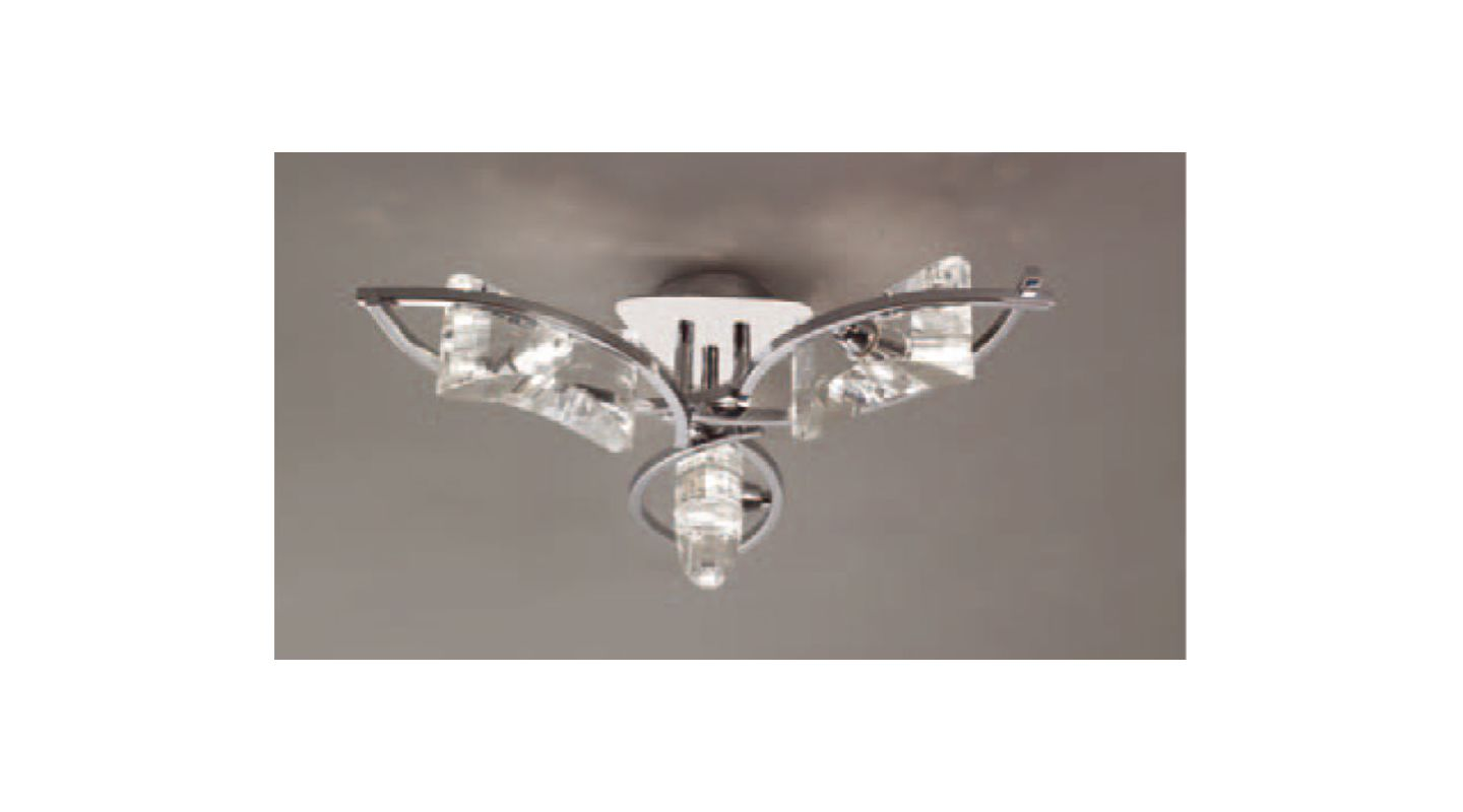 Mantra Lighting 0891 Krom 3 Light Flush Mount Ceiling Fixture Polished