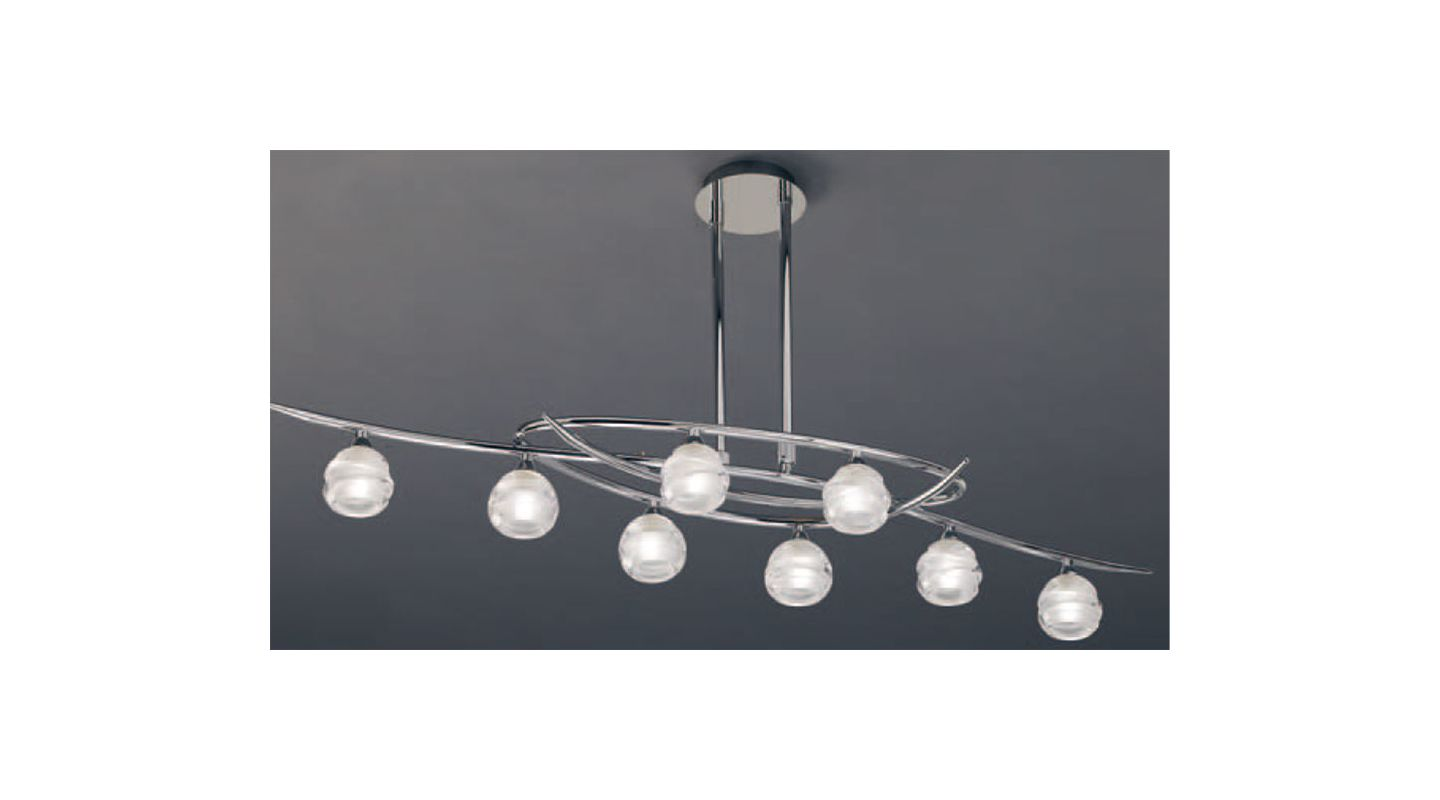 Mantra Lighting 1800 Loop 8 Light 1 Tier Chandelier Polished Chrome