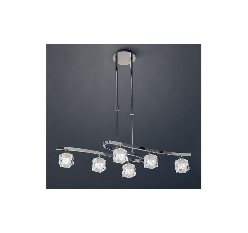Mantra Lighting 1841 Ice 6 Light 1 Tier Chandelier Polished Chrome