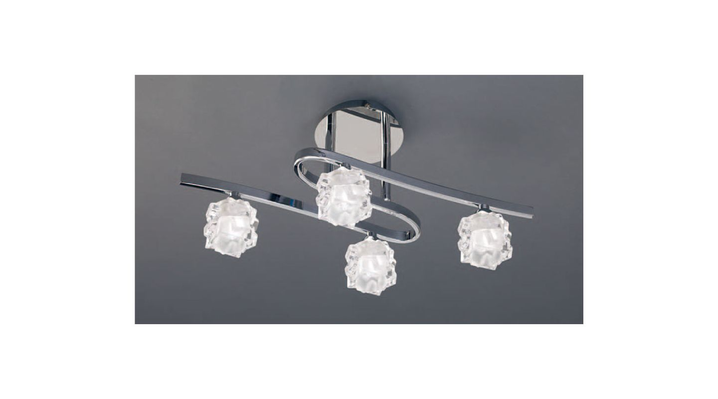 Mantra Lighting 1843 Ice 4 Light Semi-Flush Ceiling Fixture Polished