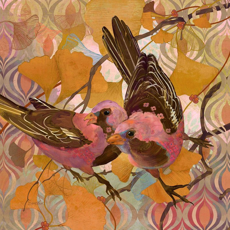 Marmont Hill Gingko Modern Birds Evelia Painting Print on Canvas 24 x