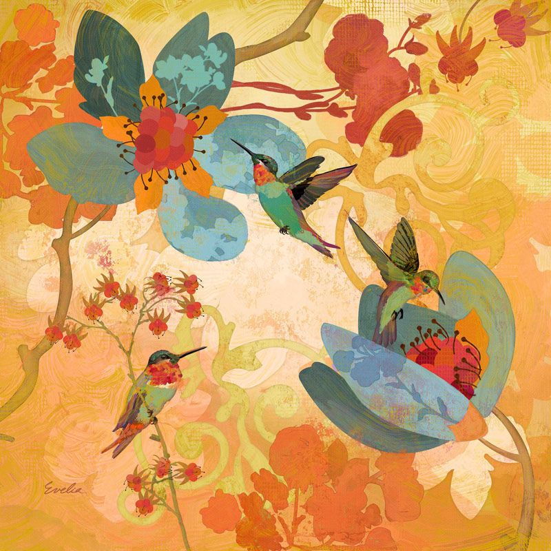 Marmont Hill Humming Birds Aqua Evelia Painting Print on Canvas 18 x