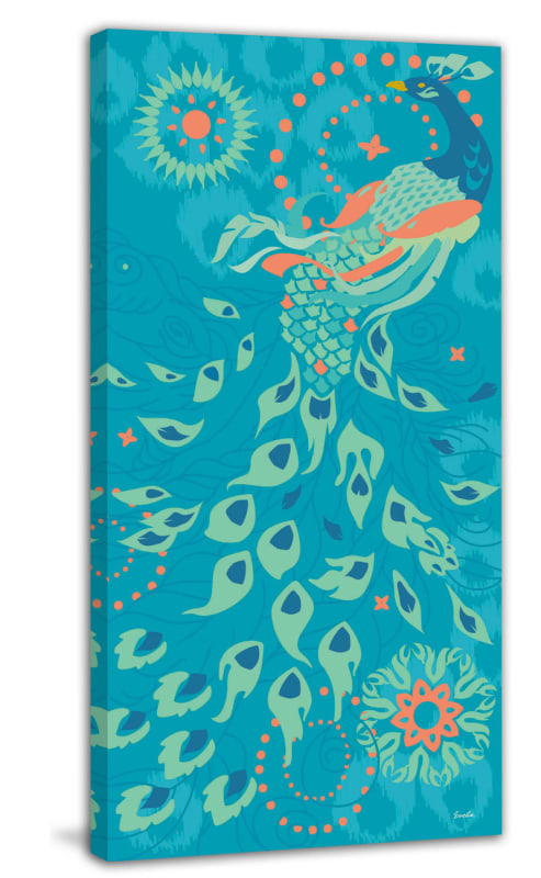 Marmont Hill Peacock of Peoria Evelia Painting Print on Canvas 60 x 30