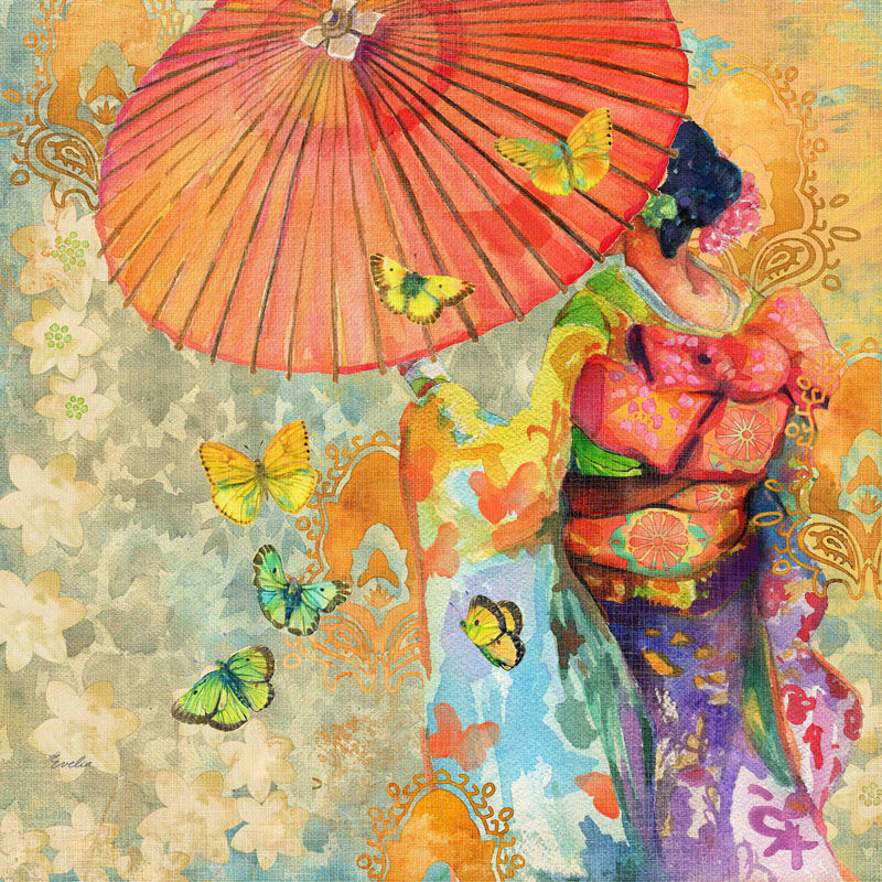 Marmont Hill Umbrella Butterflies Evelia Painting Print on Canvas 32 x