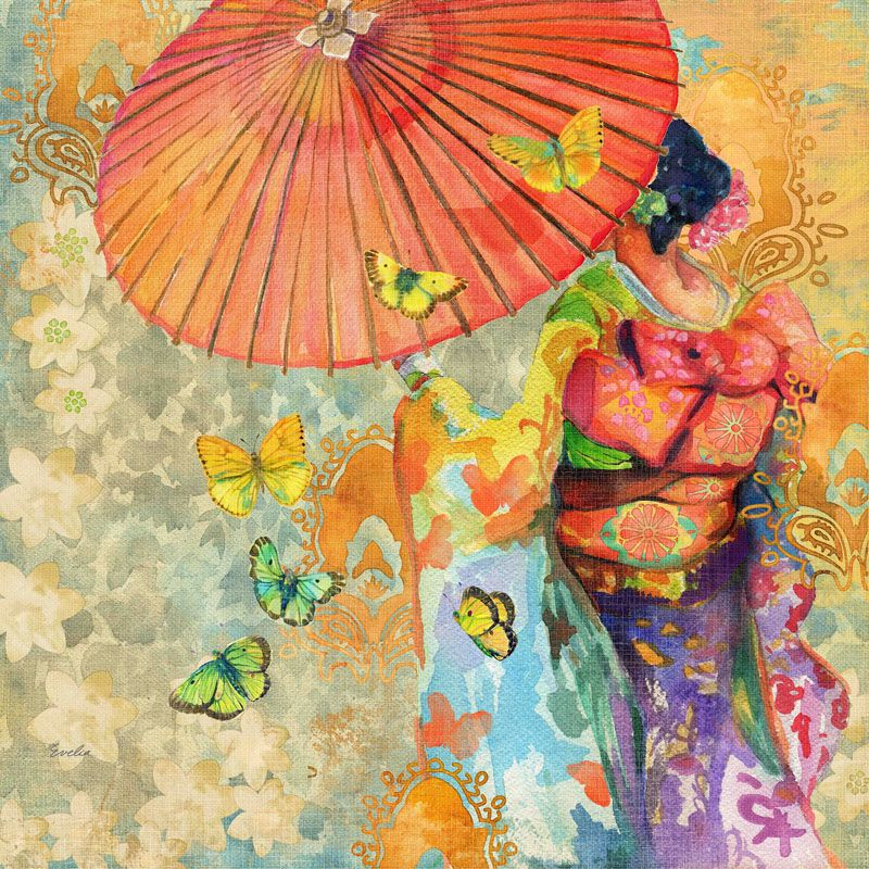 Marmont Hill Umbrella Butterflies Evelia Painting Print on Canvas 40 x