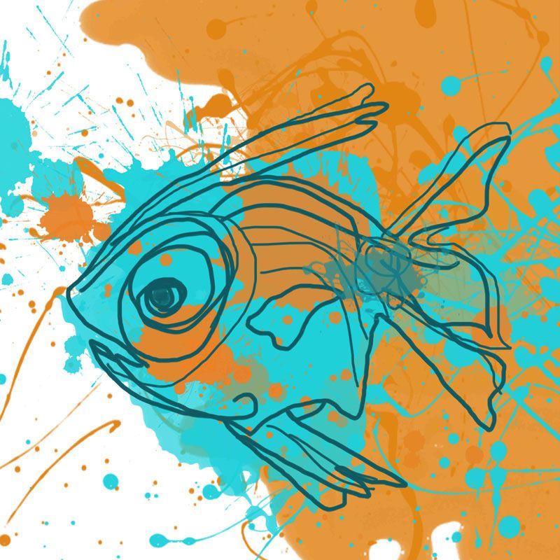Marmont Hill Aqua Fish Irena Orlov Painting Print on Canvas 18 x 18