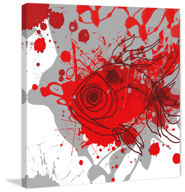Marmont Hill Grey-Red Fish Irena Orlov Painting Print on Canvas 40 x