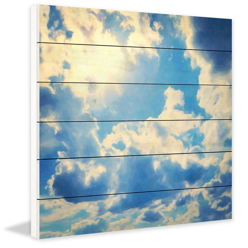 Marmont Hill Clouds on White Wood Print on White Wood 32 x 32 Home