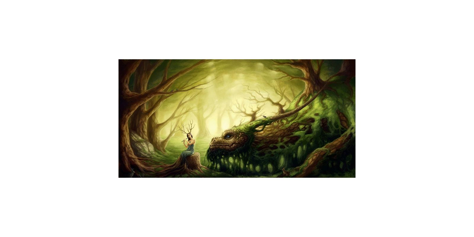 Marmont Hill Forest Dragon Painting Print on Canvas 18 x 36 Home Decor