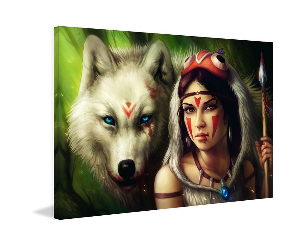 Marmont Hill Princess Mononoke Painting Print on Canvas 12 x 18 Home